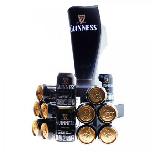 Tireuse a bière Guinness Surger et son verre et ses canette de guinness surger