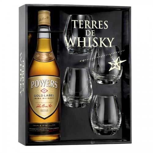 Coffret Terres de Whisky Powers Gold Label 70 cl + 4 verres